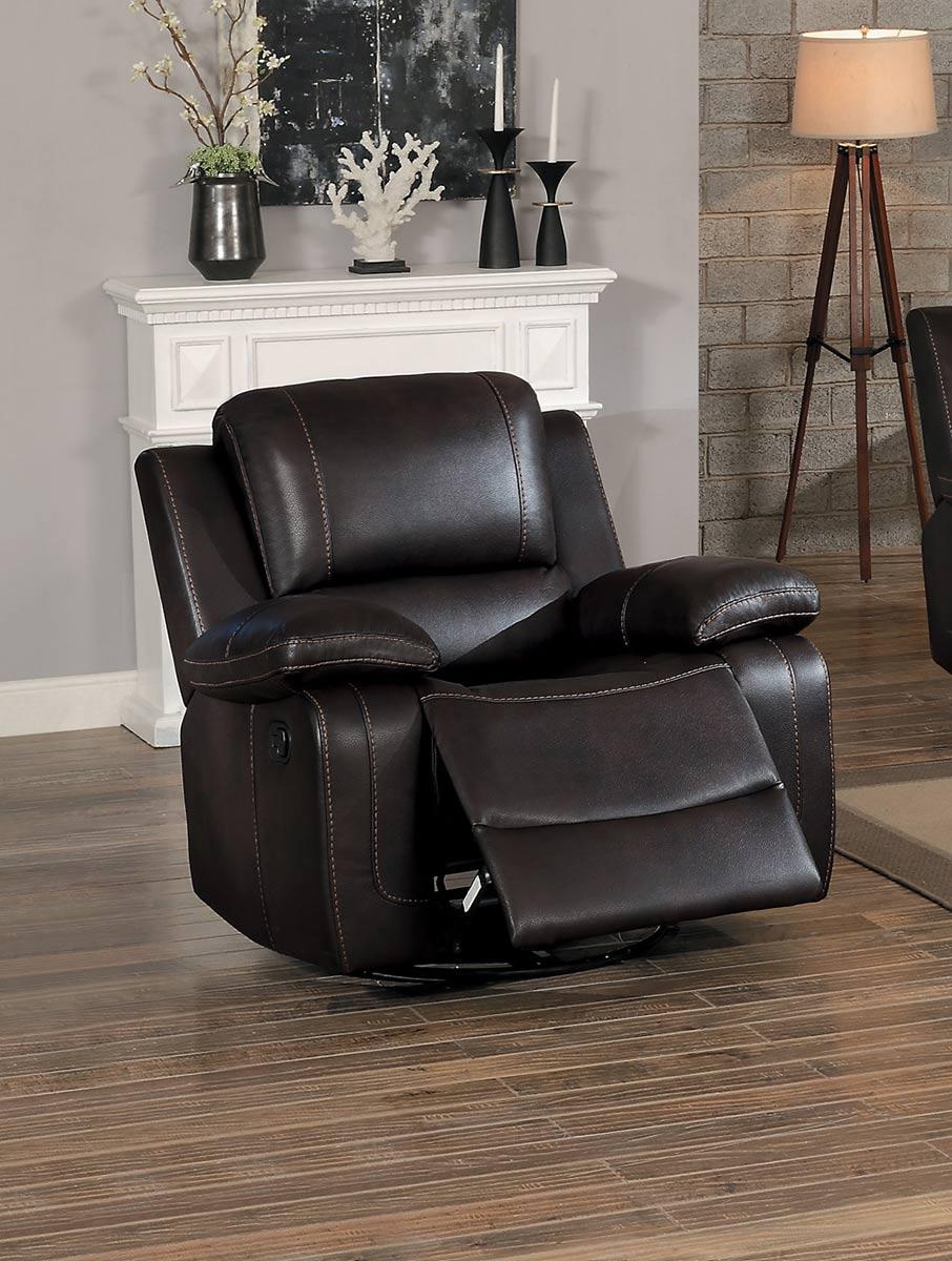 Homelegance Oriole Swivel Glider Reclining Chair - Dark Brown AireHyde Match