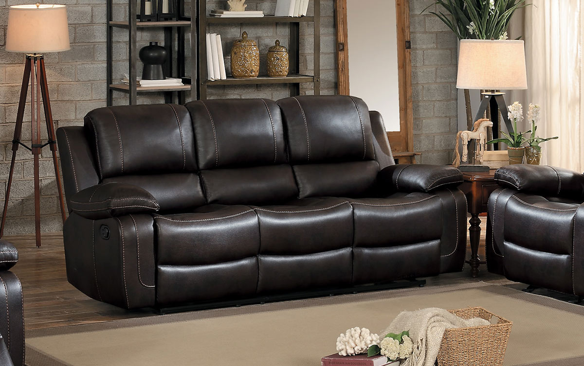 Homelegance Oriole Double Reclining Sofa with Drop-Down Table - Dark Brown AireHyde Match