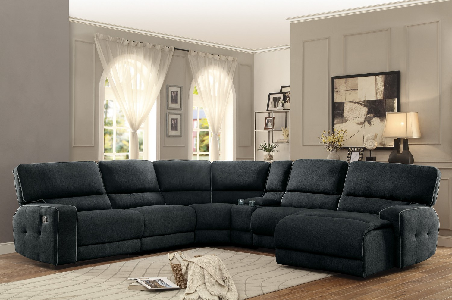Homelegance Keamey Reclining Sectional Sofa Set A Polyester Dark Grey