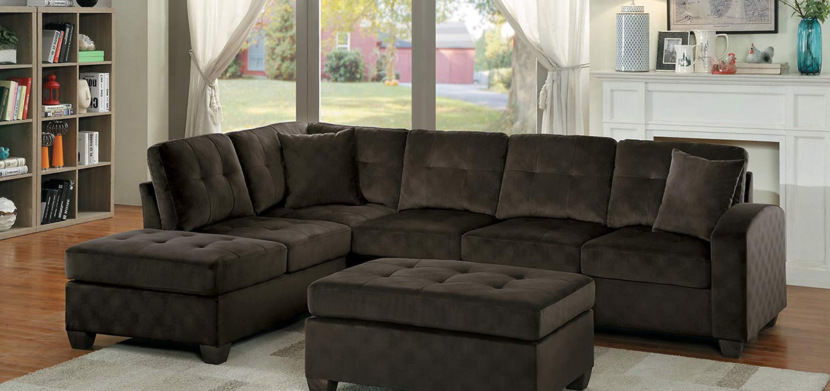 Homelegance Emilio Reversible Sectional Sofa - Chocolate Fabric