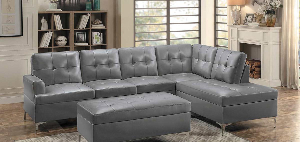 Homelegance Barrington Sectional Sofa - Gray Bi-Cast Vinyl