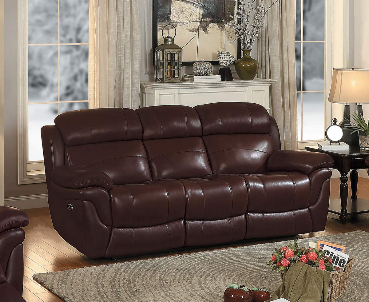 Homelegance Spruce Power Double Reclining Sofa Brown Top