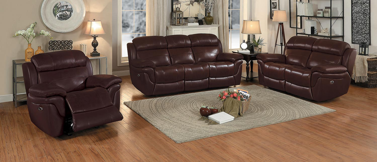 Homelegance Spruce Power Reclining Sofa Set   Brown Top Grain Leather Match