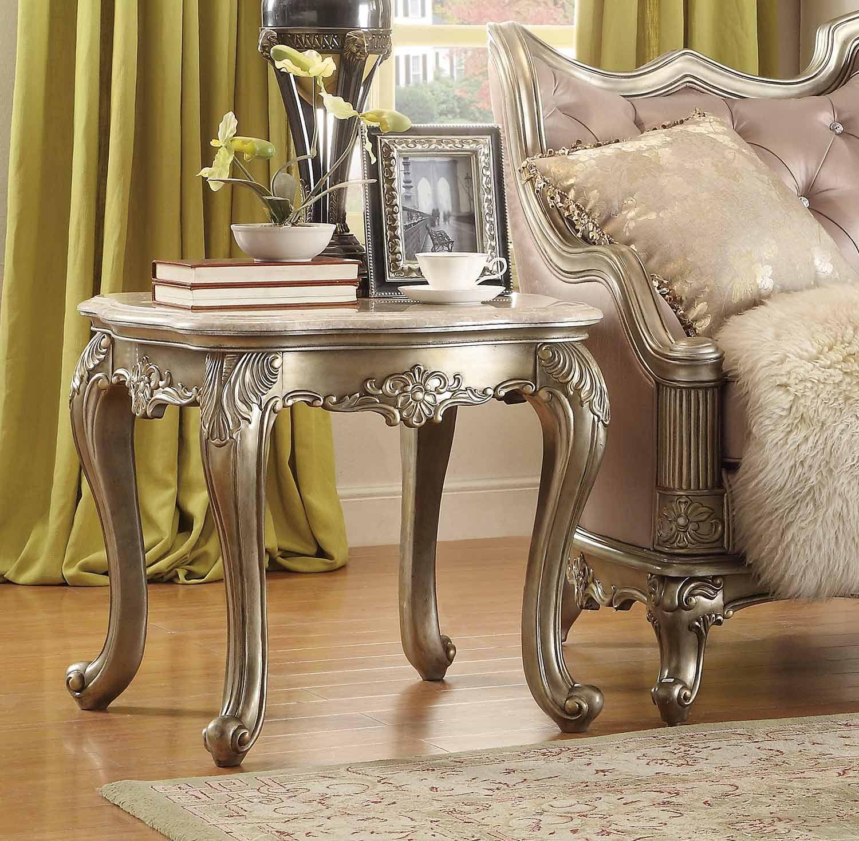Homelegance Fiorella End Table - Silver/Gold