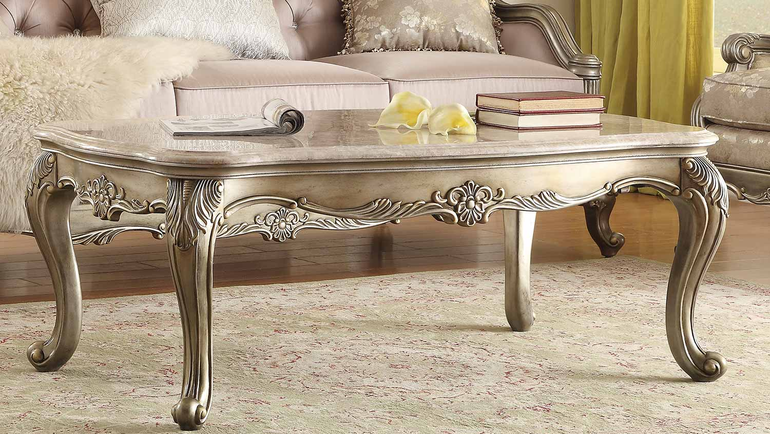 Homelegance Fiorella Cocktail/Coffee Table - Silver/Gold