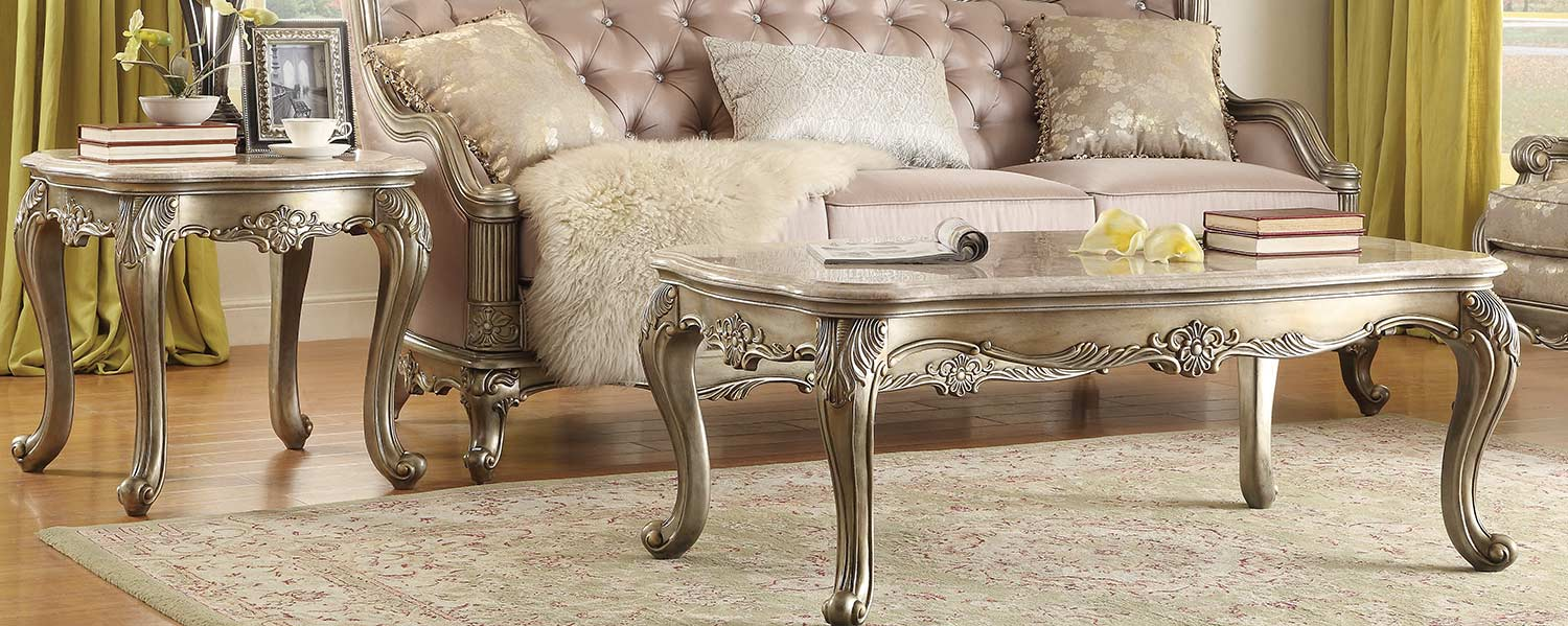 Homelegance Fiorella Coffee Table Set - Silver/Gold