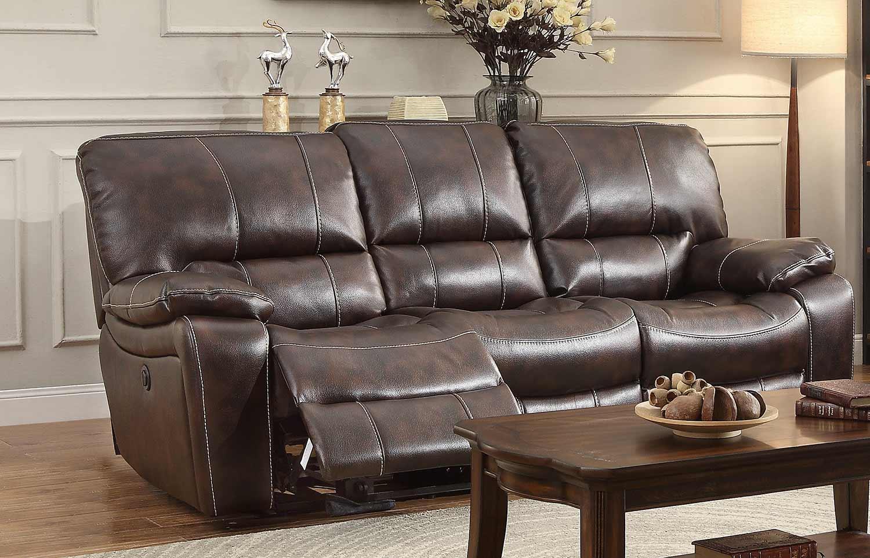 Homelegance Timkin Power Double Reclining Sofa - Dark Brown