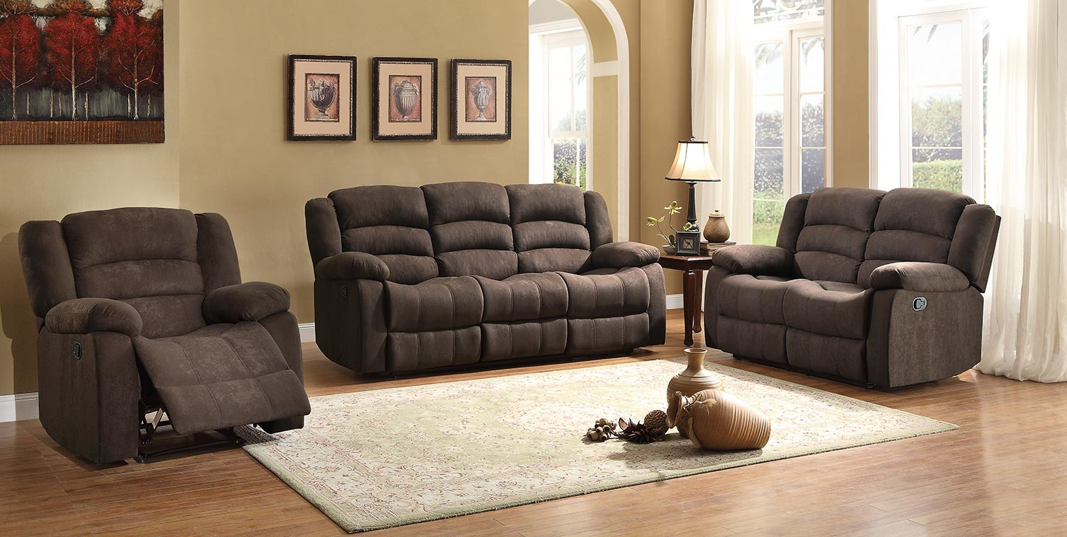 Homelegance Greenville Reclining Sofa Set Chocolate