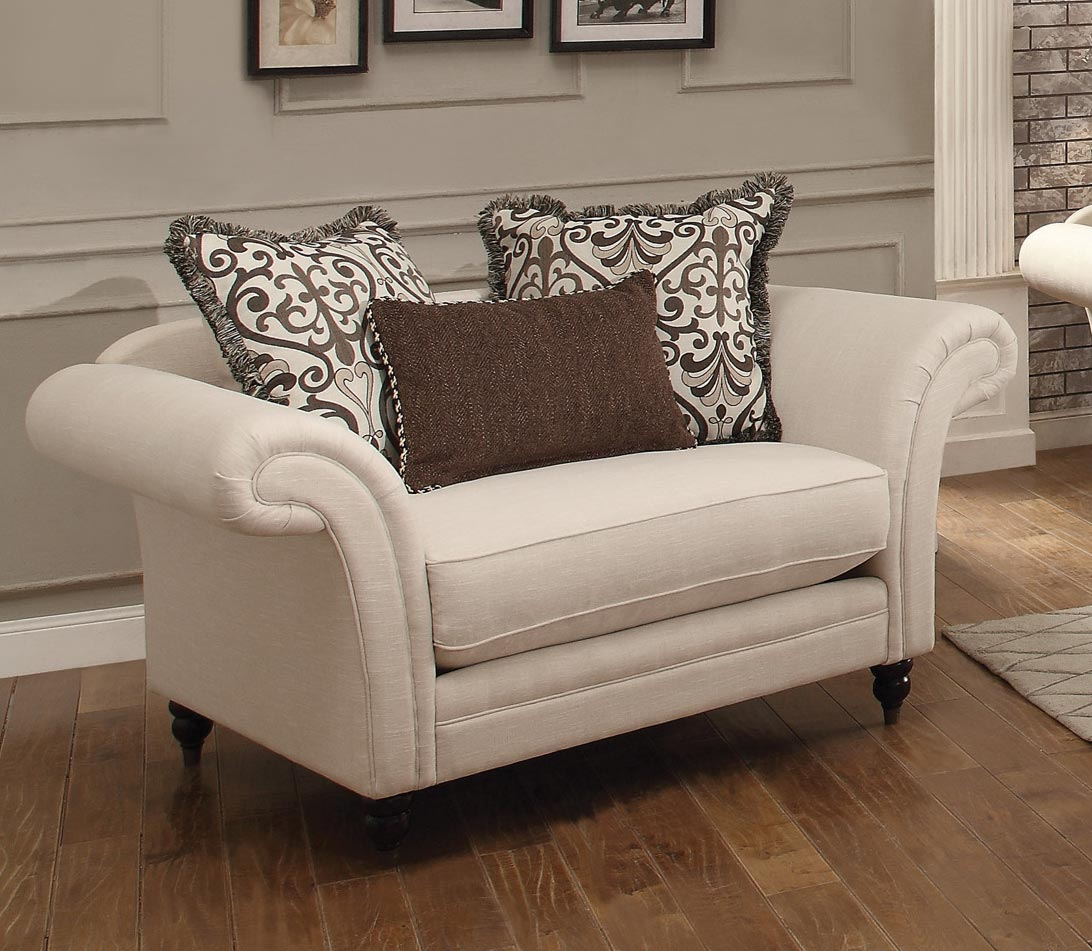 cream chair and a half homelegance vicarrage chair and a half polyester blend 13579 | HE 8456 1