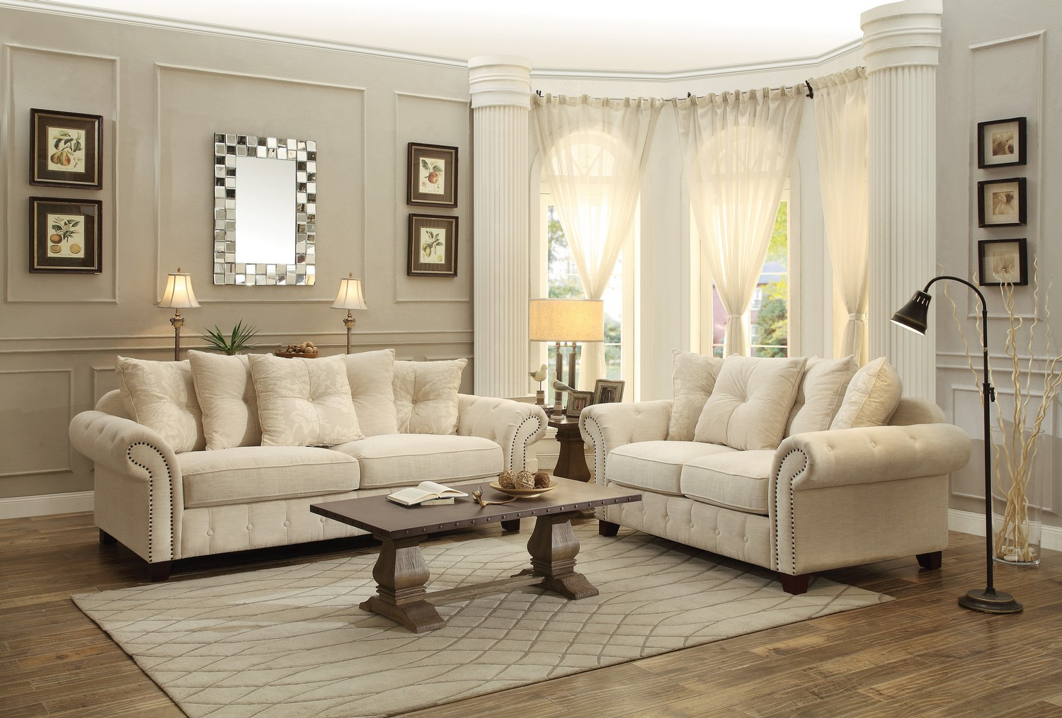 Charmant Homelegance Centralia Sofa Set   Polyester Blend   Cream