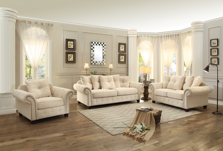 Attractive Homelegance Centralia Sofa Set   Polyester Blend   Cream