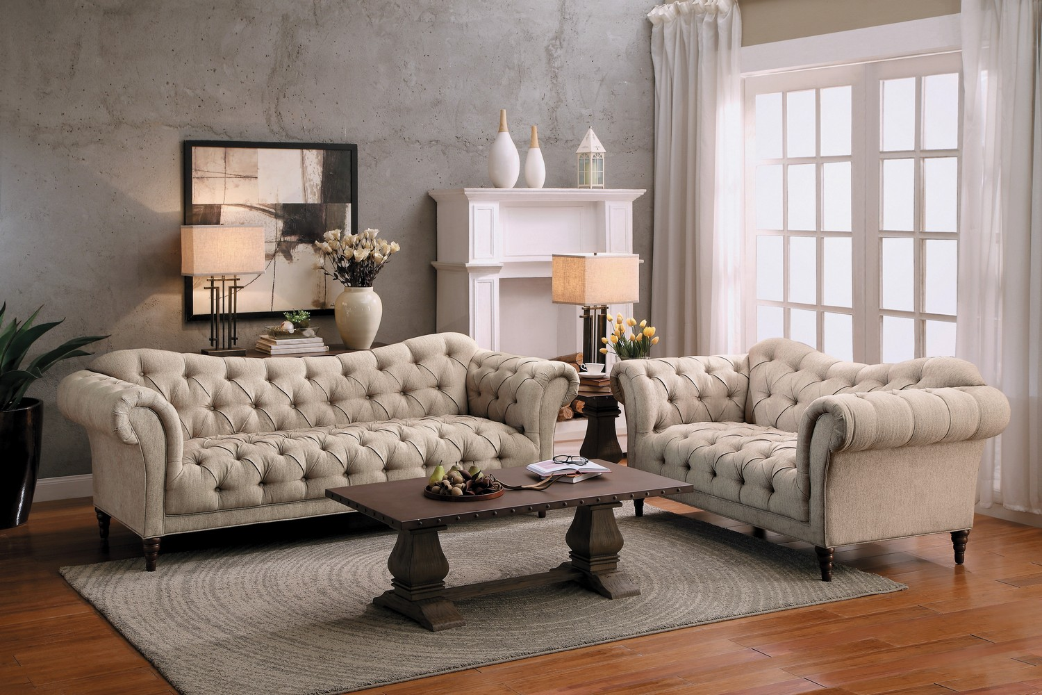 Homelegance St. Claire Sofa Set - Polyester - Brown Tone