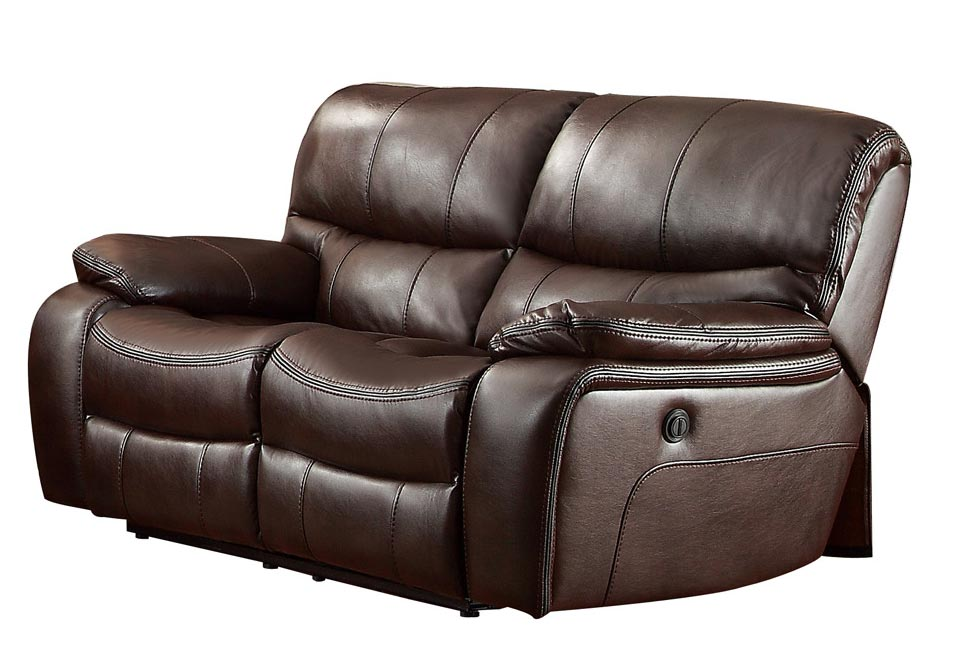 Homelegance Pecos Power Double Reclining Love Seat - Leather Gel Match - Dark Brown