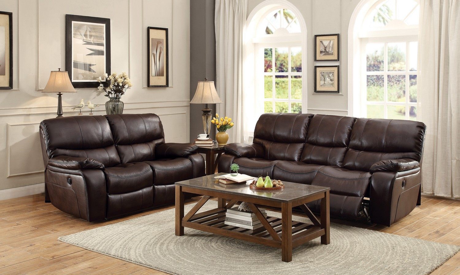 Homelegance Pecos Power Reclining Sofa Set - Leather Gel Match - Dark Brown