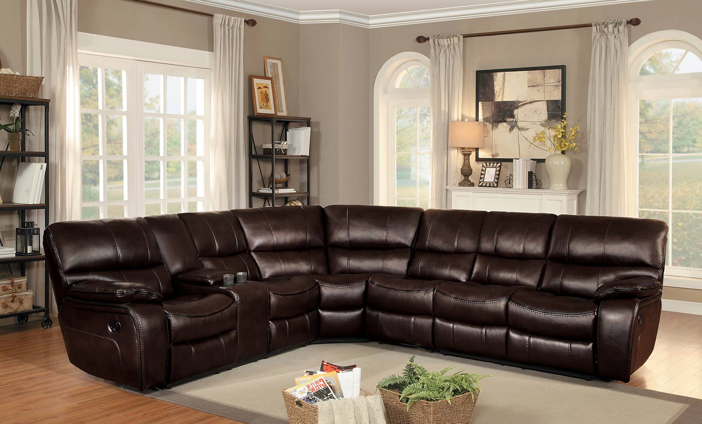 Homelegance Pecos Reclining Sectional Set - Dark Brown Leather Gel Match