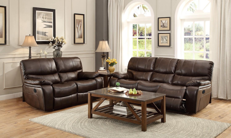 Homelegance Pecos Reclining Sofa Set - Leather Gel Match - Dark Brown