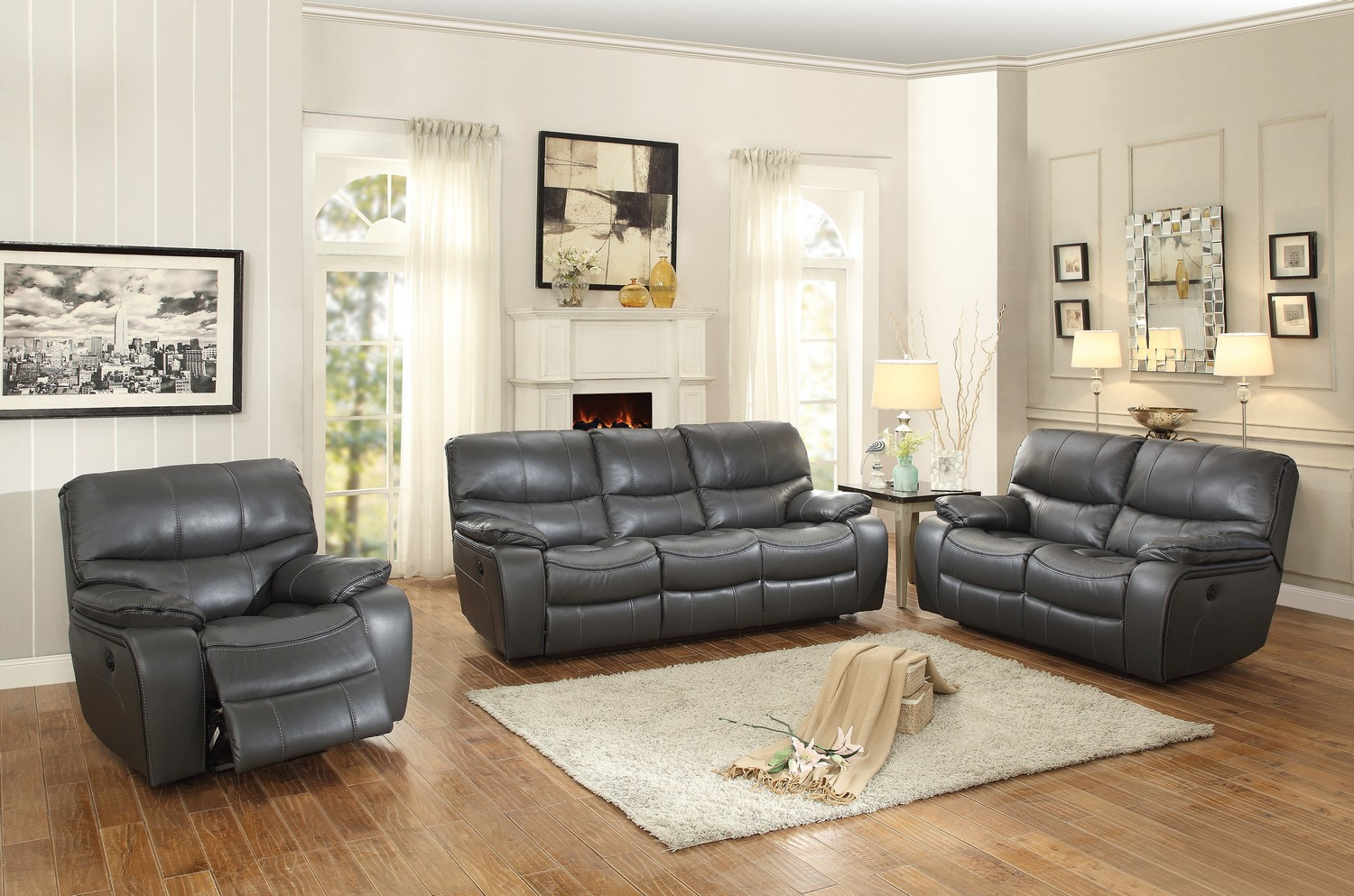 Homelegance pecos power reclining sofa set leather gel for Gray leather sofa set