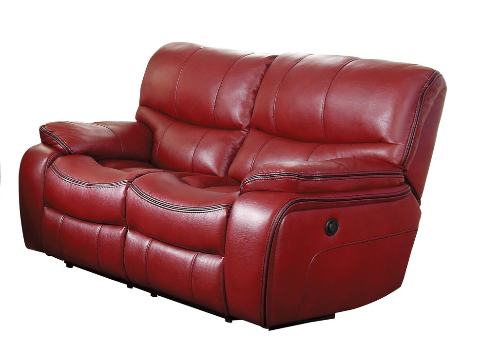 Homelegance Pecos Power Double Reclining Love Seat - Leather Gel Match - Red