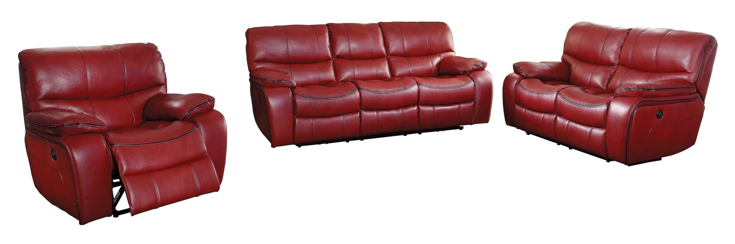 Homelegance Pecos Power Reclining Sofa Set - Leather Gel Match - Red