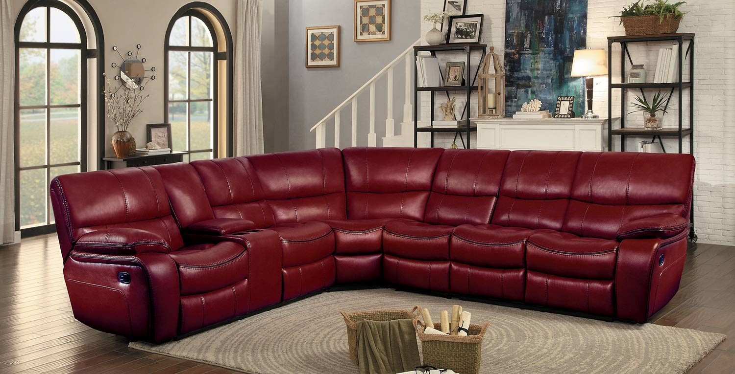 Homelegance Pecos Reclining Sectional Set - Red Leather Gel Match