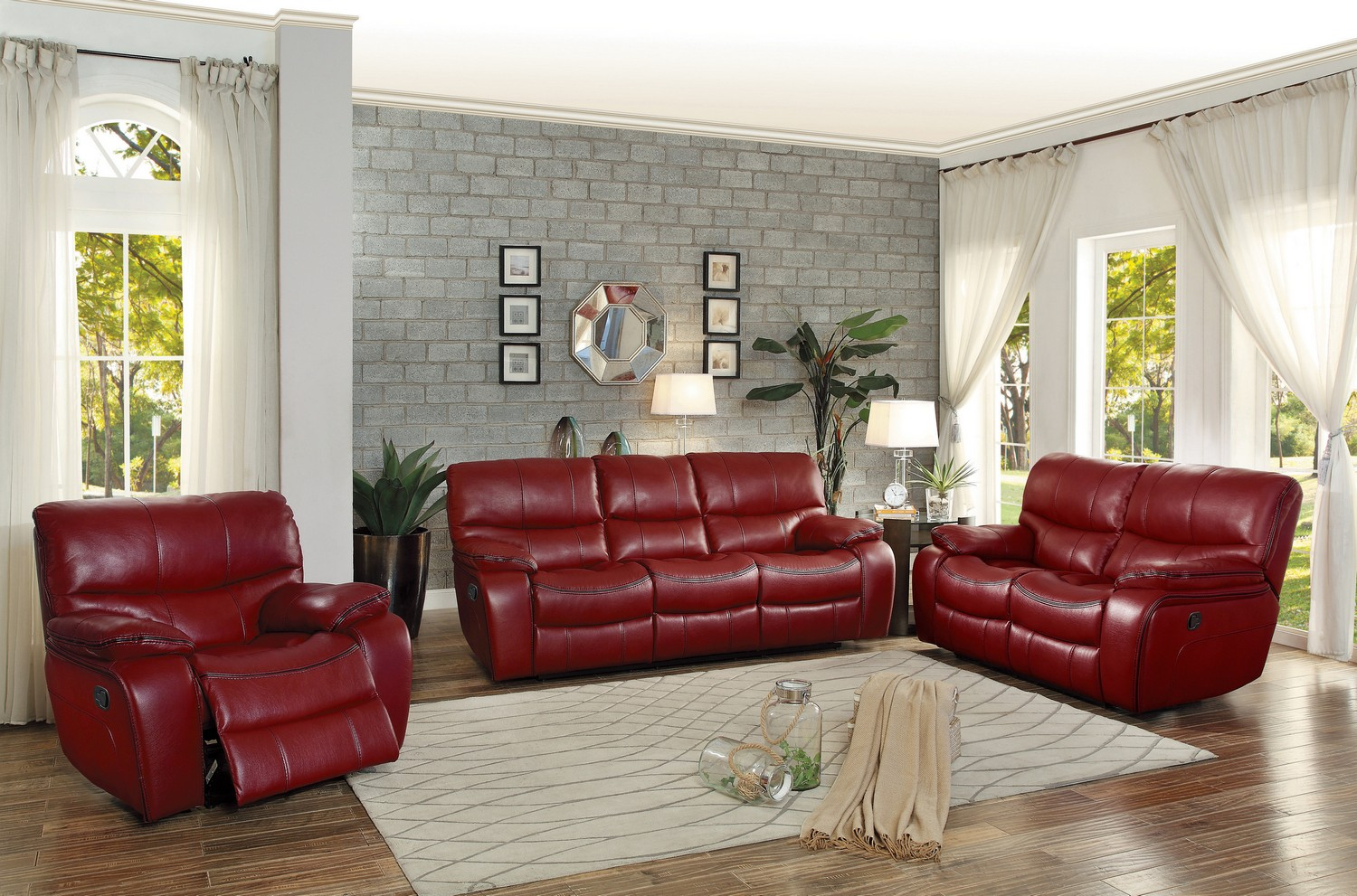 Homelegance Pecos Reclining Sofa Set - Leather Gel Match - Red