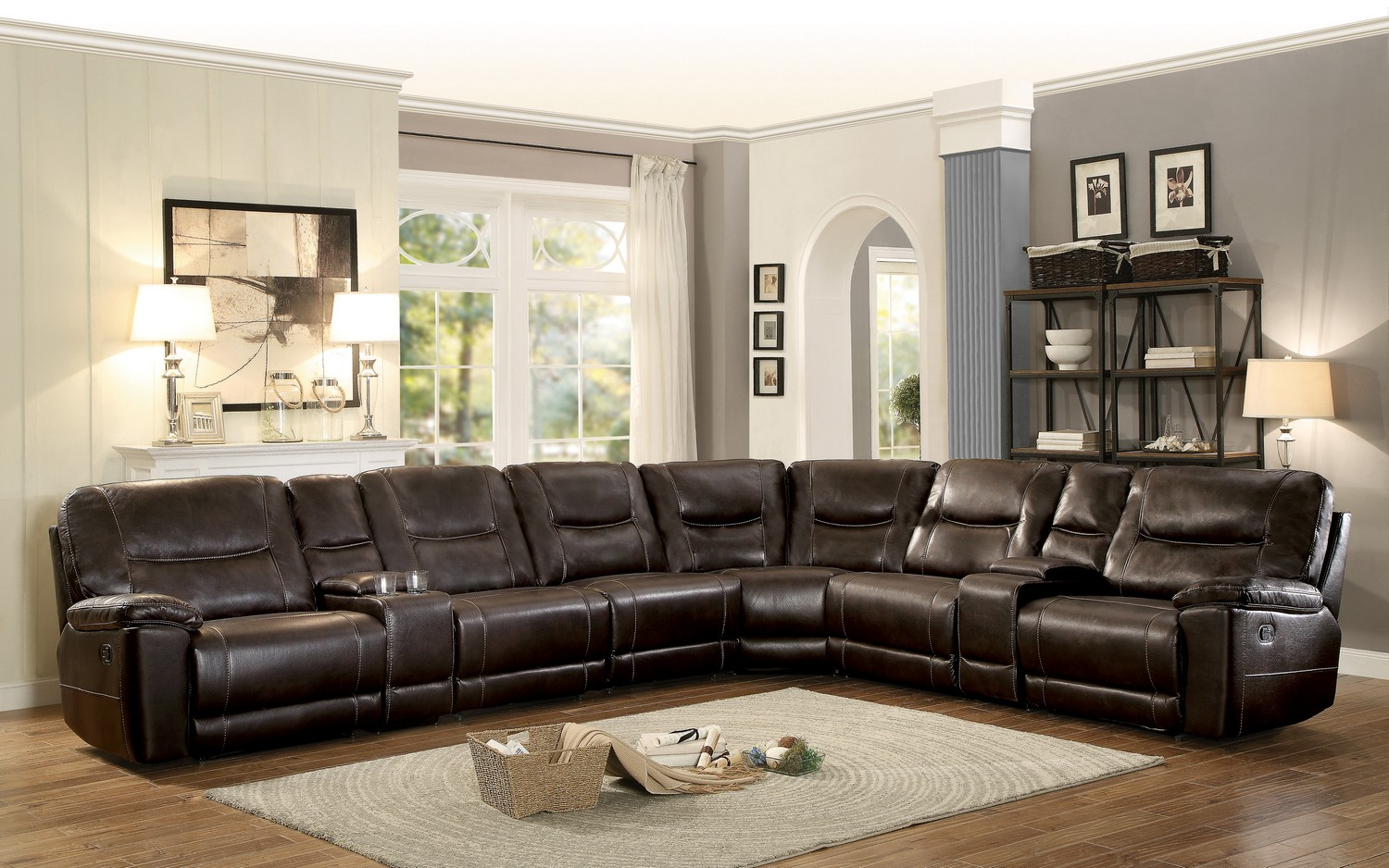 Homelegance Columbus Reclining Sectional Sofa Set A - Breathable Faux Leather - Dark Brown