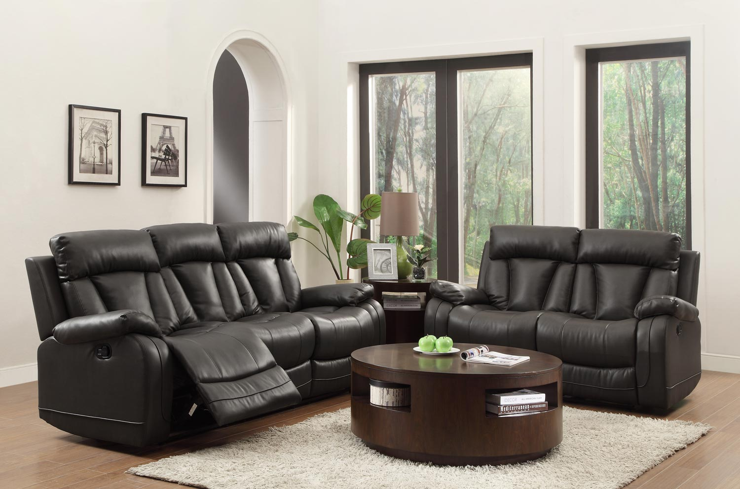homelegance ackerman reclining sofa set black bonded leather match 8500blk sofa set at. Black Bedroom Furniture Sets. Home Design Ideas