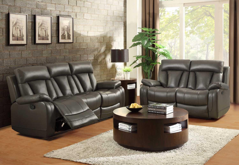 Homelegance Ackerman Reclining Sofa Set Grey Bonded