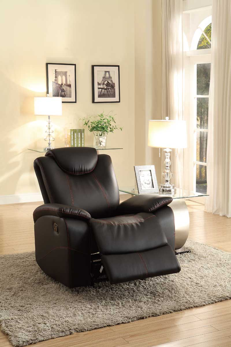 Homelegance Talbot Glider Reclining Chair Black Bonded Leather 8524bk 1 At