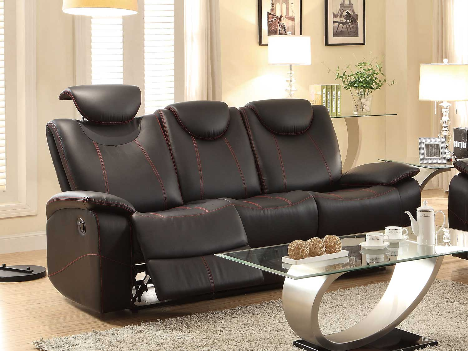 Homelegance Talbot Double Reclining Sofa - Black Bonded Leather