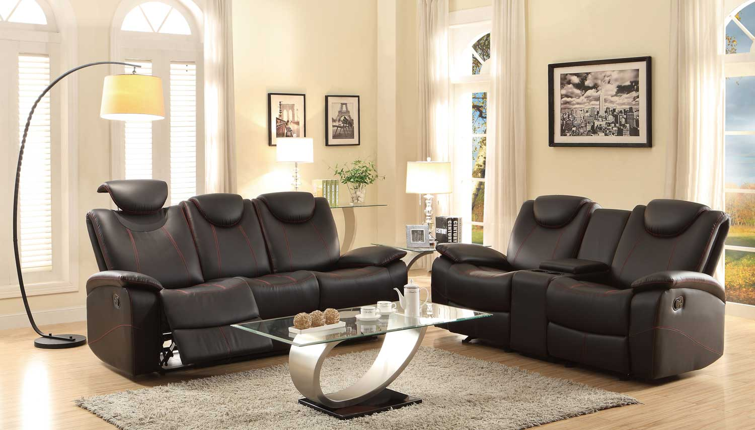 Homelegance Talbot Reclining Sofa Set - Black Bonded Leather