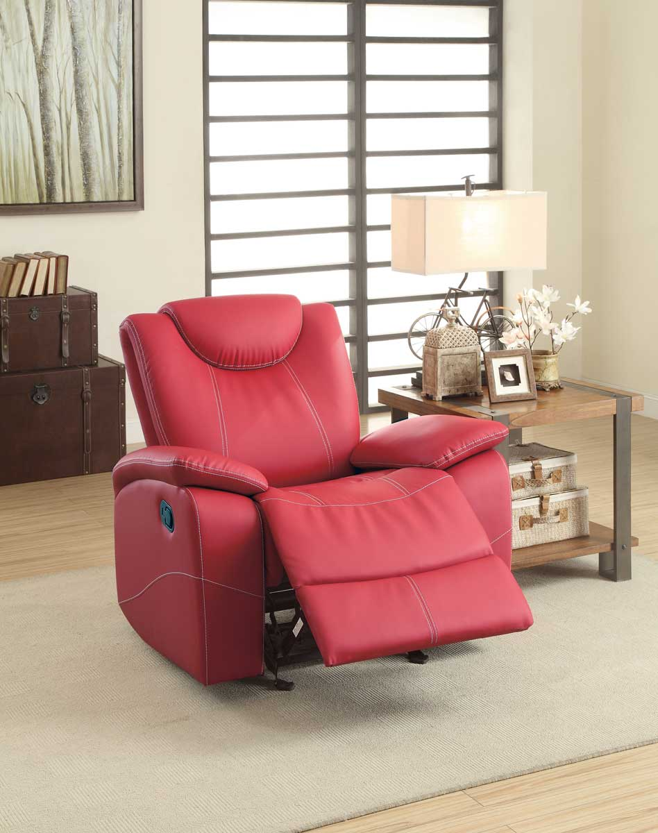 Homelegance Talbot Glider Reclining Chair - Red Bonded Leather