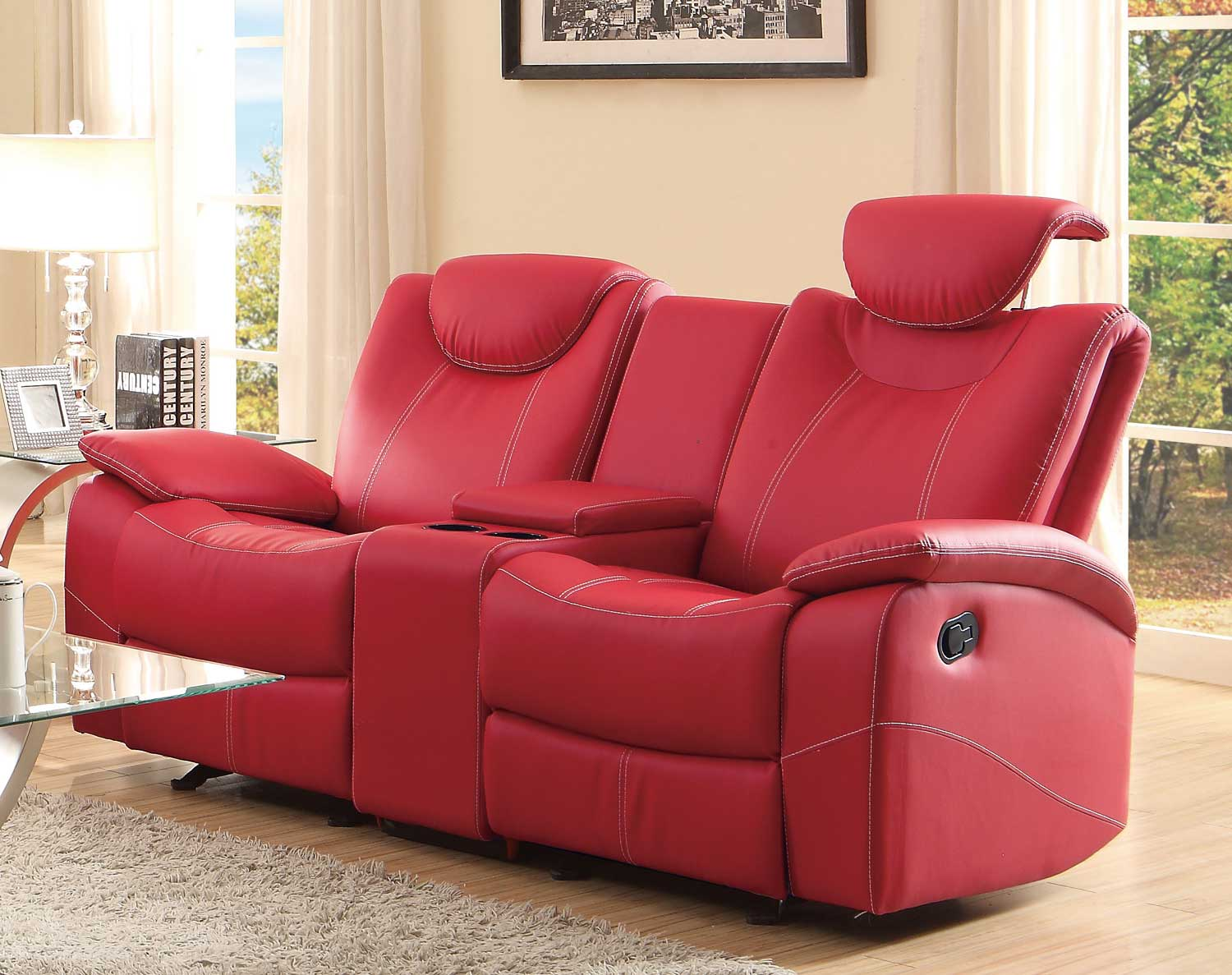 Homelegance Talbot Double Glider Reclining Love Seat with Center Console - Red Bonded Leather