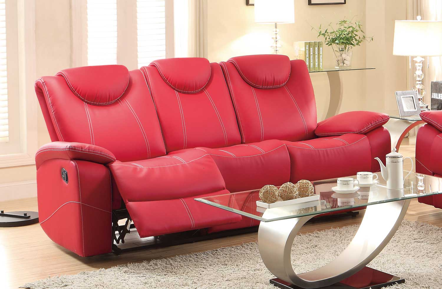 Homelegance Talbot Double Reclining Sofa - Red Bonded Leather