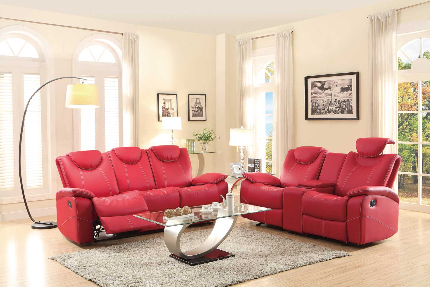 Homelegance Talbot Reclining Sofa Set - Red Bonded Leather