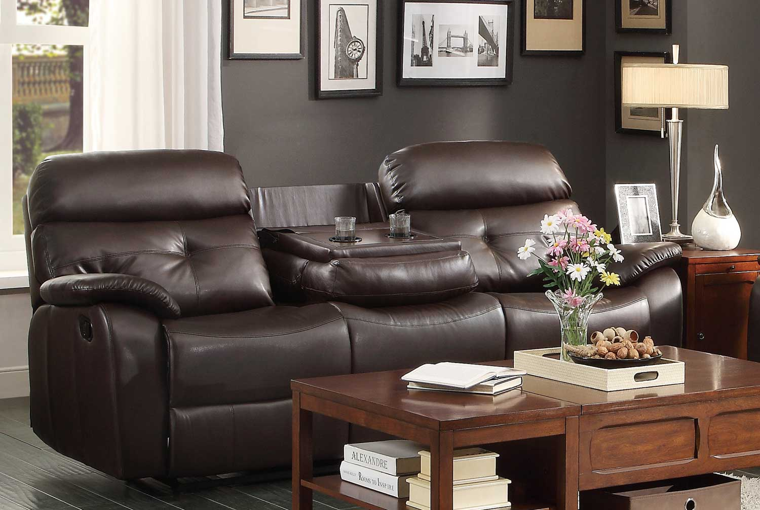Picture of: Homelegance Evana Double Reclining Sofa With Drop Down Center Cup Holders Dark Brown Bonded Leather Match 8539 3 At Homelement Com