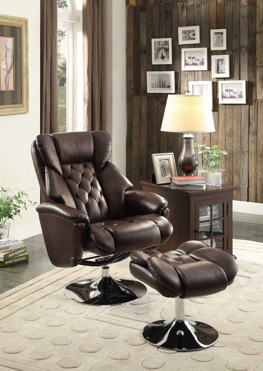 Homelegance Aleron Swivel Reclining Chair With Ottoman