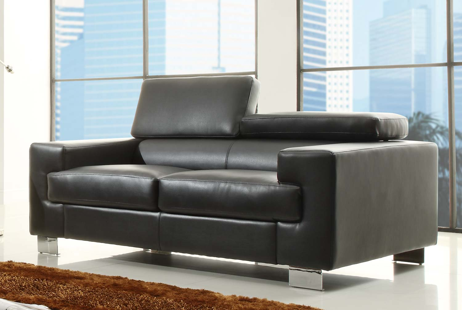 Special Homelegance BLK Vernon Love Seat Bonded Leather  Product Photo