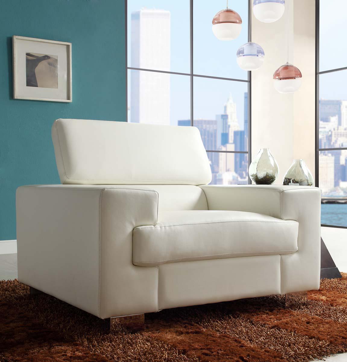 White Bonded Leather Sofa: Homelegance Vernon Sofa Set