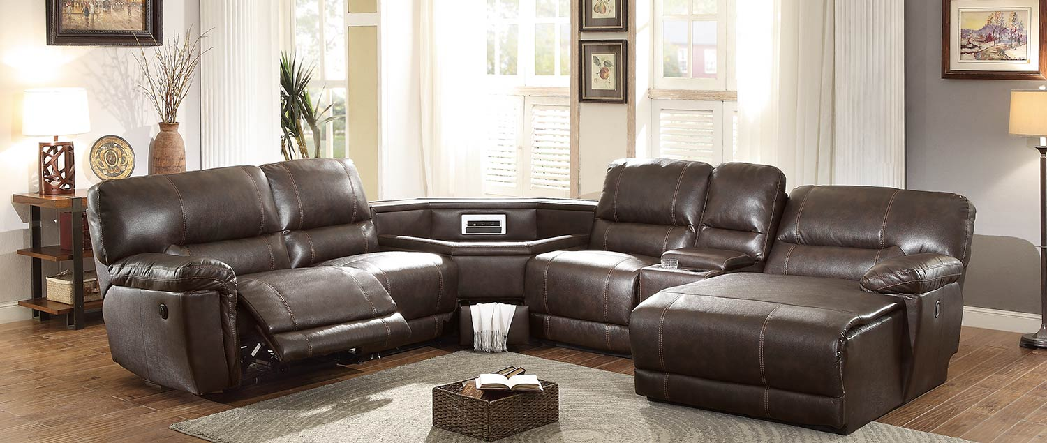 Homelegance blythe ii power sectional sofa dark brown for Sectional sofa wedge table
