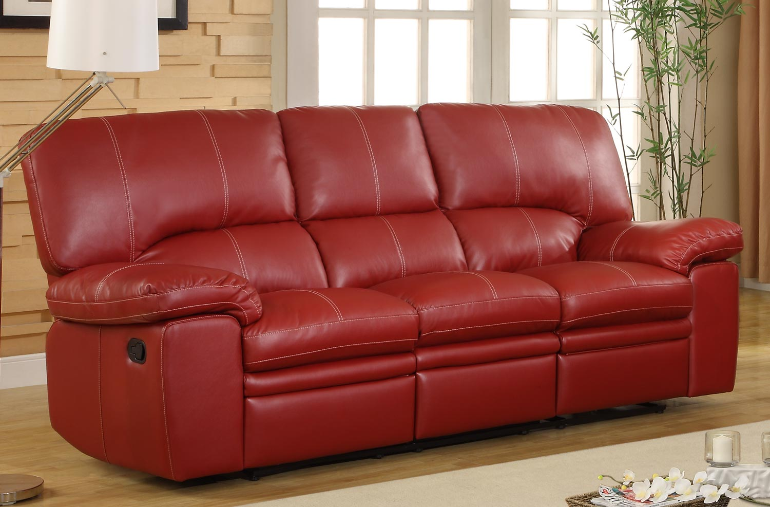 Superb-quality Homelegance RED Kendrick Double Recliner Sofa Bonded Leather Match Product Photo