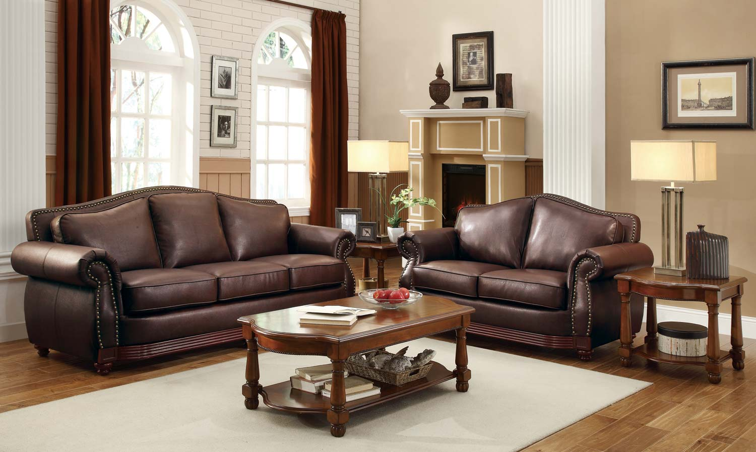 Homelegance midwood bonded leather sofa collection dark for Leather sofa set