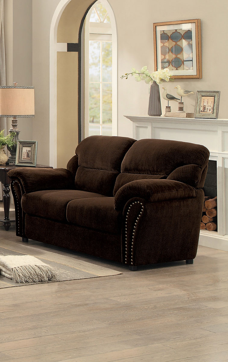 Homelegance Valentina Love Seat - Dark Brown Fabric