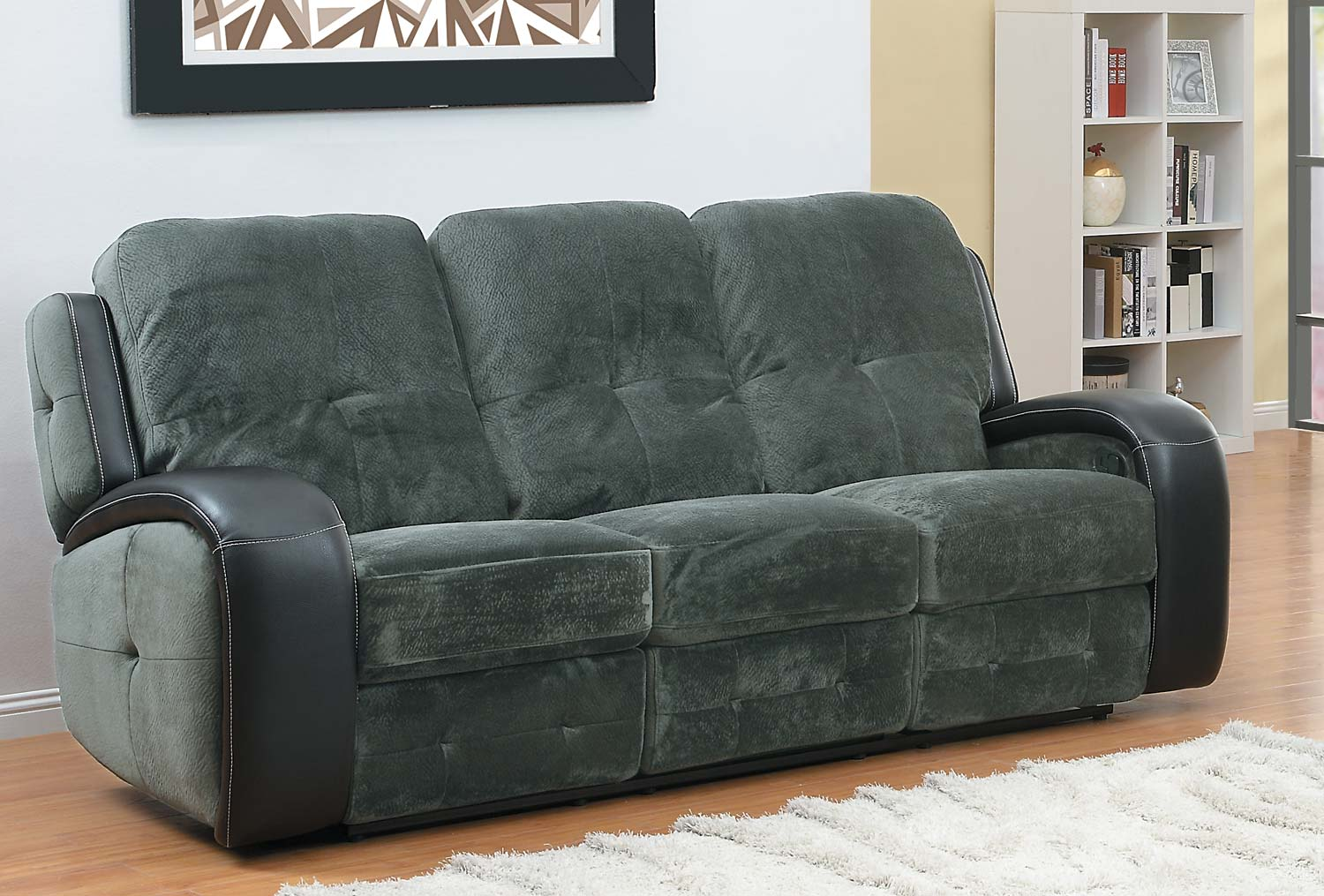 Homelegance Flatbush Double Recliner Sofa Textured Plush Microfiber Black Bi Cast Vinyl