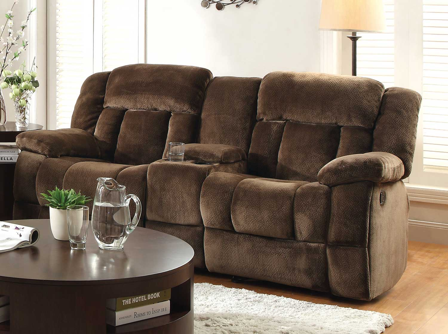 Homelegance Laurelton Double Glider Reclining Love Seat With Center Console    Chocolate   Textured Plush Microfiber