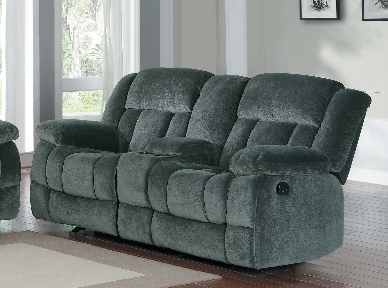 Homelegance Laurelton Reclining Sofa Set Charcoal Textured Plush Microfiber U9636cc 3 At