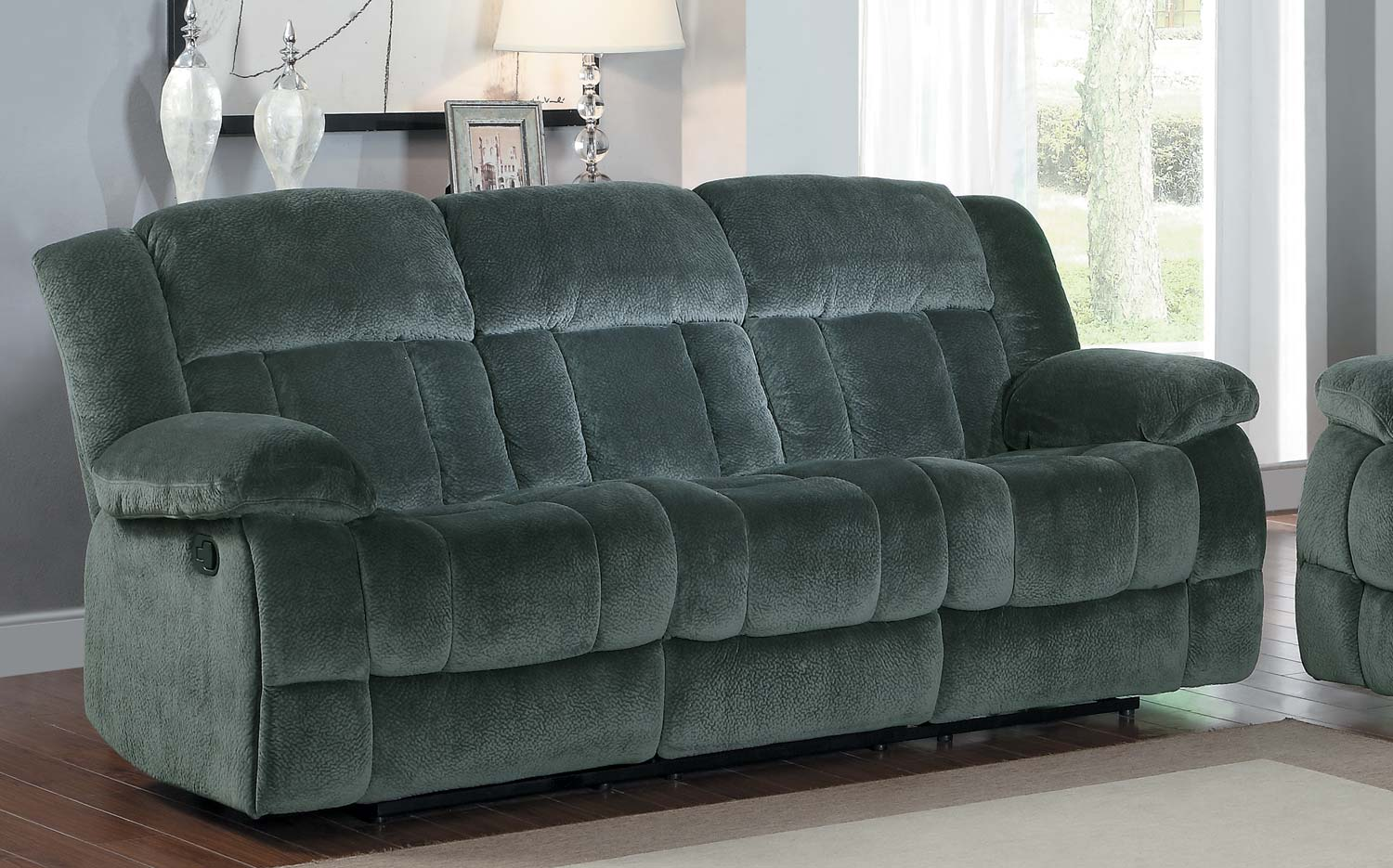 Picture of: Homelegance Laurelton Double Reclining Sofa Charcoal Textured Plush Microfiber 9636cc 3 At Homelement Com