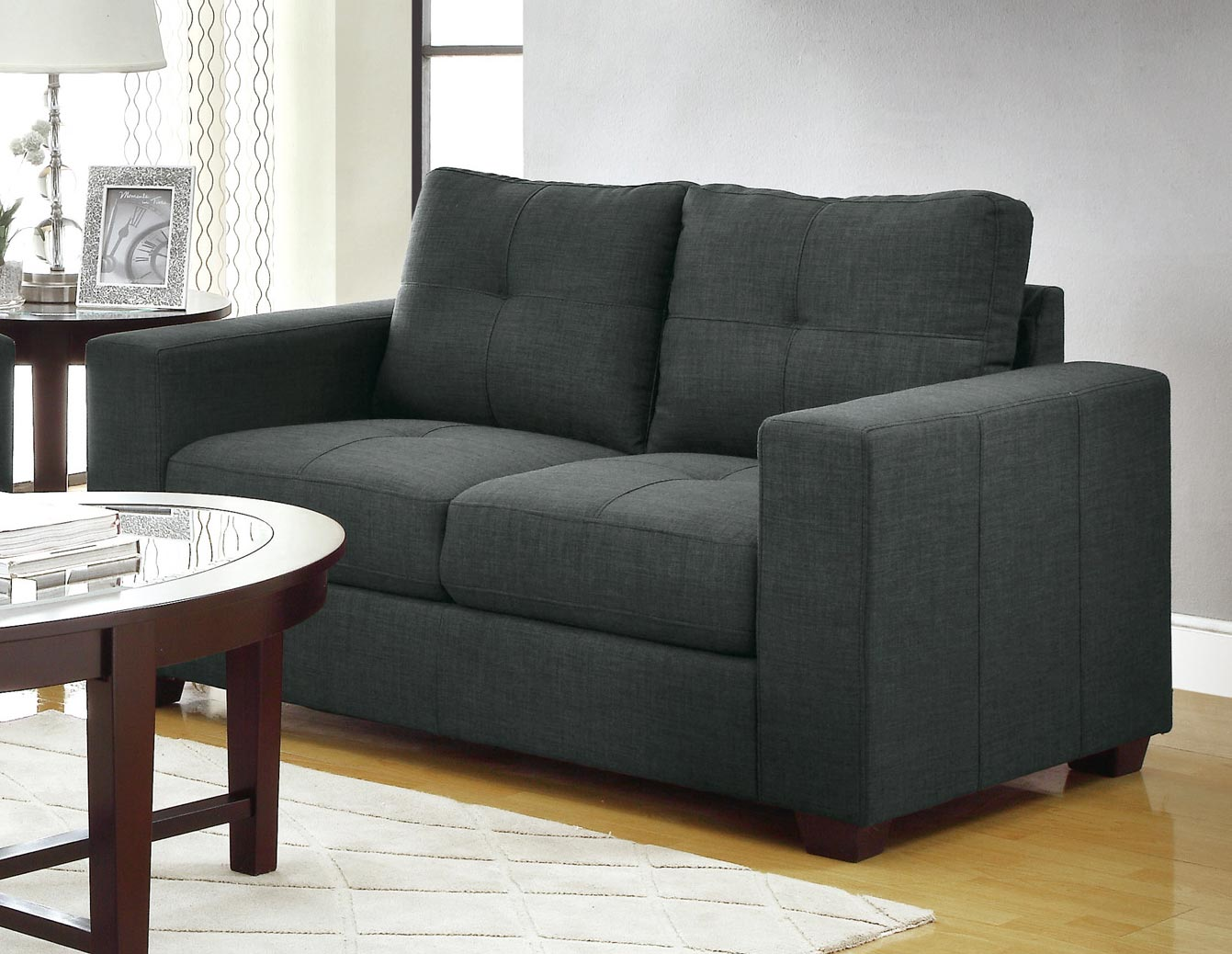 Homelegance Ashmont Love Seat - Polyester - Dark Grey
