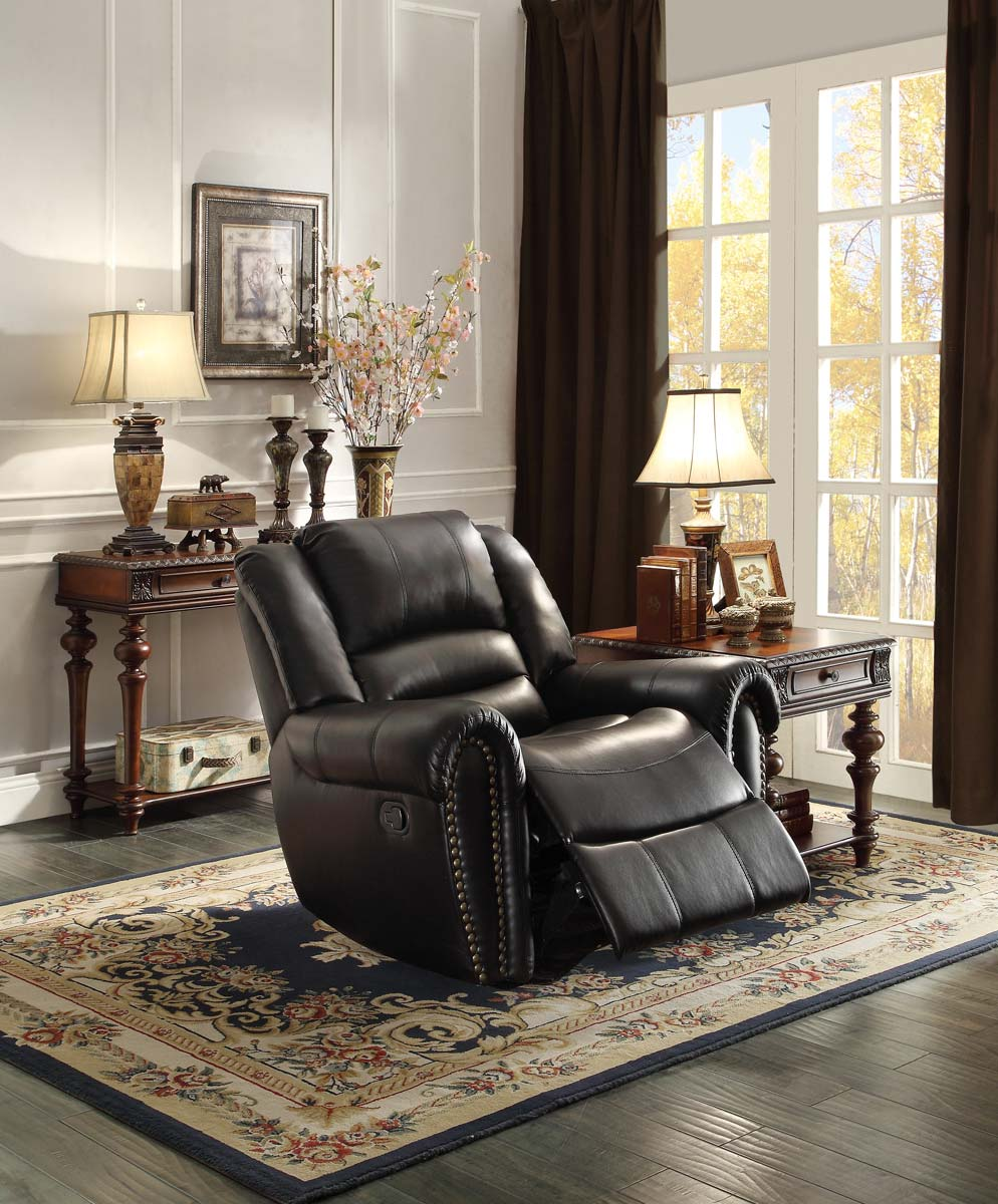 Homelegance Center Hill Glider Reclining Chair Black Bonded Leather Match 9668blk 1 At