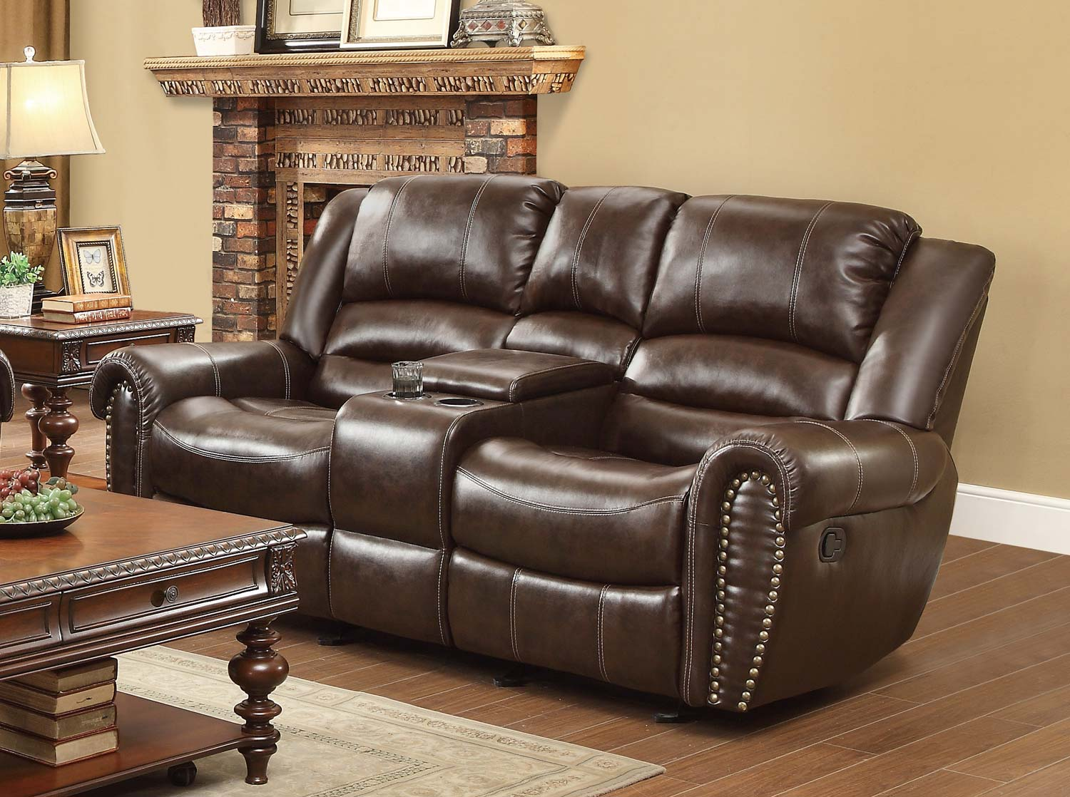 Homelegance Center Hill Double Glider Reclining Love Seat with Center Console - Dark Brown Bonded Leather Match